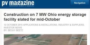 PV Magazine article on solar facility in Ohio