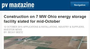PV Magazine article on solar facility in Ohio
